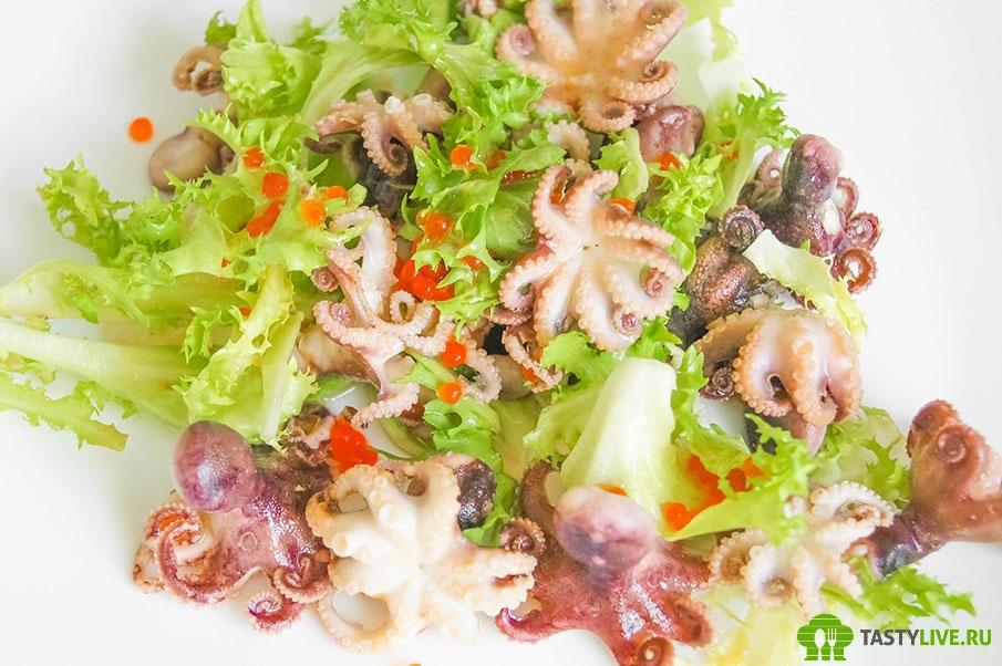 Салат с осьминогами фото