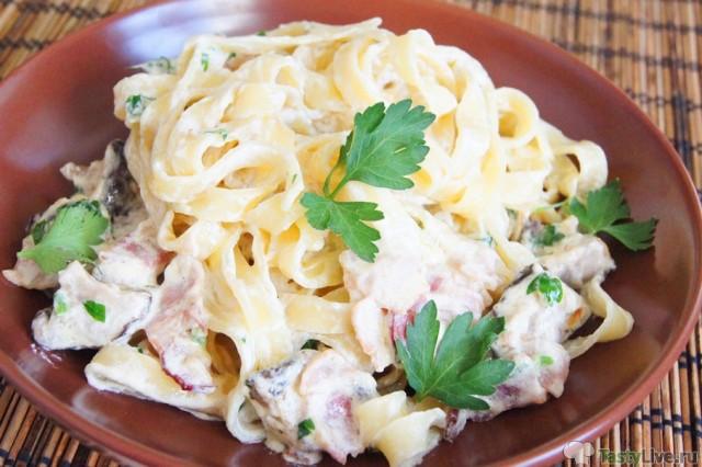Паста с курицей в сливочном соусе пошаговый рецепт с фото