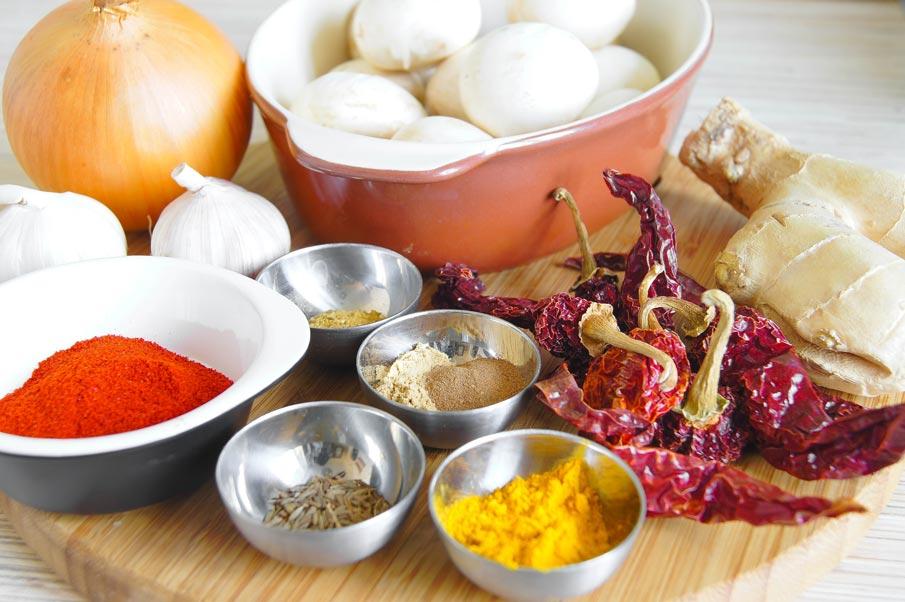 Ингредиенты для виндалу из грибов